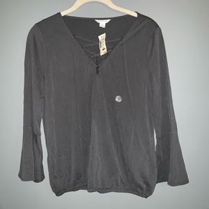 Aeropostale Grey Lace up Shirt